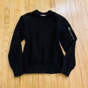 H&M Black Oversized Sweater Utility Zipper Details